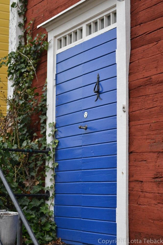 Blå vacker dörr