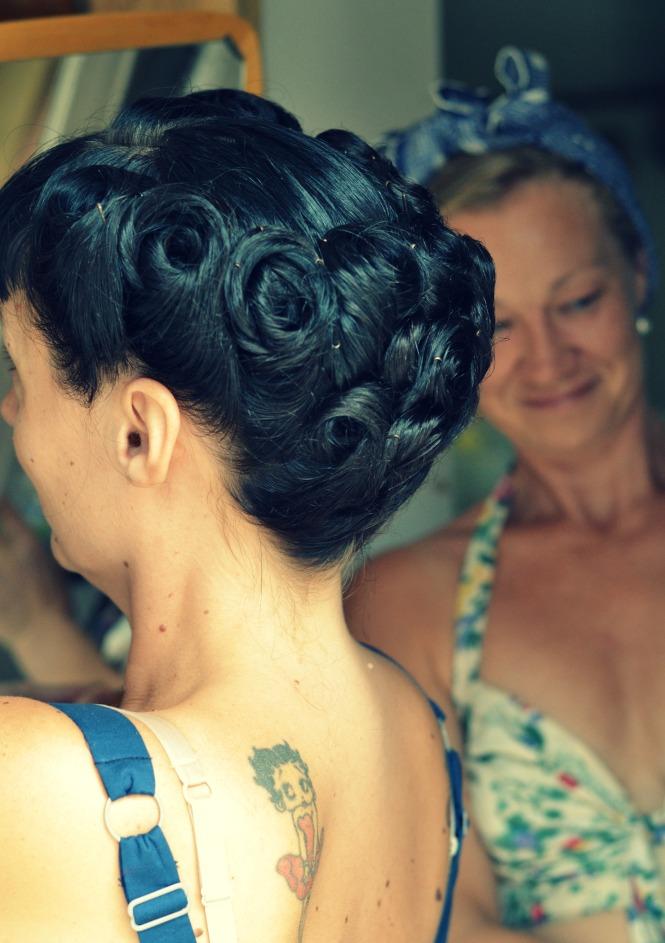 Vacker håruppsättning vintage